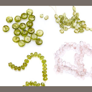 Group of peridot beads and rose quartz beads