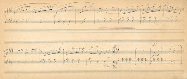 RIMSKY-KORSAKOV, NIKOLAI ANDREEVICH. 1844-1908. Autograph Musical Manuscript,