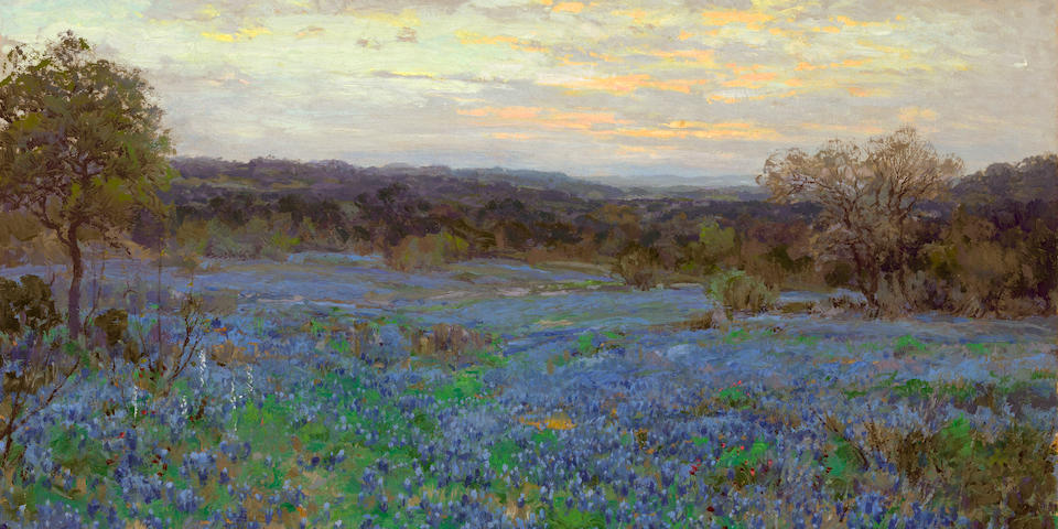 Julian Onderdonk (1882-1922) Field of bluebonnets at sunset 30 x 40in