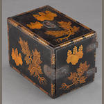 A gilt lacquered wood carrying case<BR />Early Edo period
