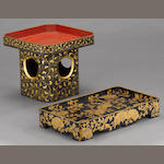 Two gilt lacquered wood trays<BR />Meiji period