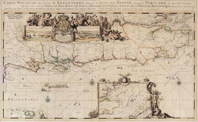 HOGHE, ROMAIN DE. 1645-1708. Carte Nouvelle des Costes d'Angleterre. Amsterdam: Pierre Mortier, 1693.