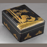 A gilt and black lacquered document box (bunko bako) Meiji period