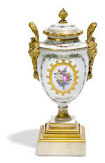 A Continental gilt bronze mounted porcelain urn on stand