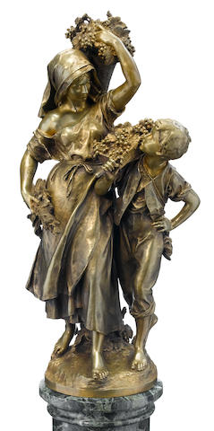 A French gilt bronze figural group on a marble column  after a model by Mathurin Moreau (French, 1822-1912) late 19th century