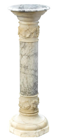 An Italian carved marble and alabaster pedestal