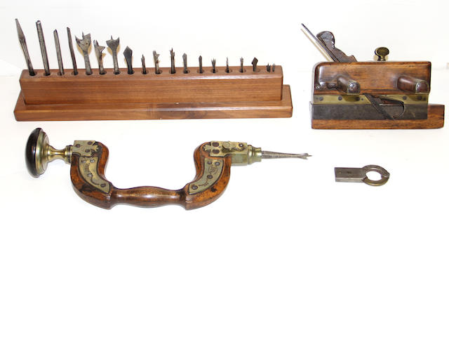 A G & T Pilkington wood and brass hand drill; Holbrook Bristol plane and a set of bits late 19th century