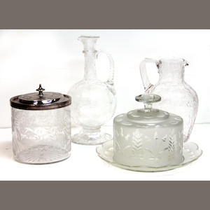 Two rock crystal cut glass pitchers, engraved biscuit barrel and butter dish on stand late 19th century