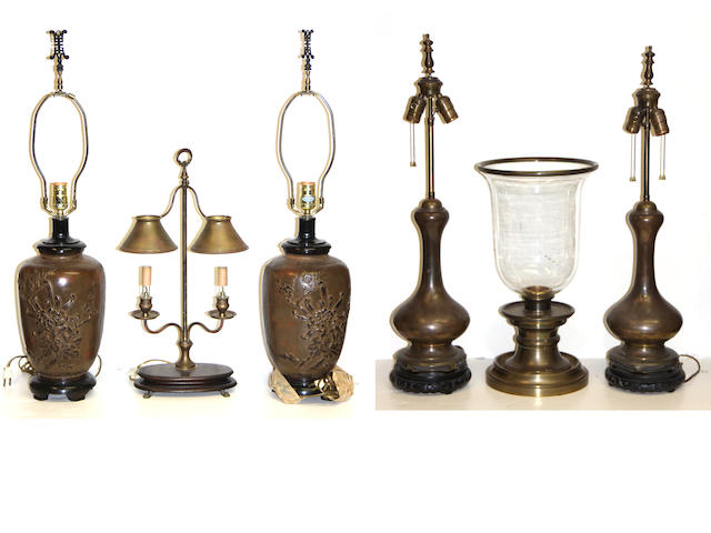 An assembled group of table and wall lights 20th century
