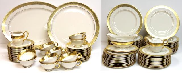 A Lenox porcelain gilt rimmed dinner service in the Westchester pattern