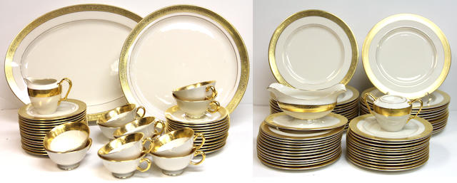 A Lenox porcelain gilt rimmed dinner service in the Westchester pattern