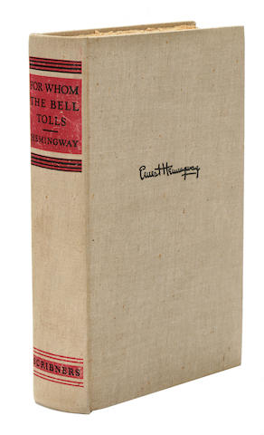 HEMINGWAY, ERNEST. 1899-1961. For Whom the Bell Tolls. New York: Charles Scribner's Sons, 1940.
