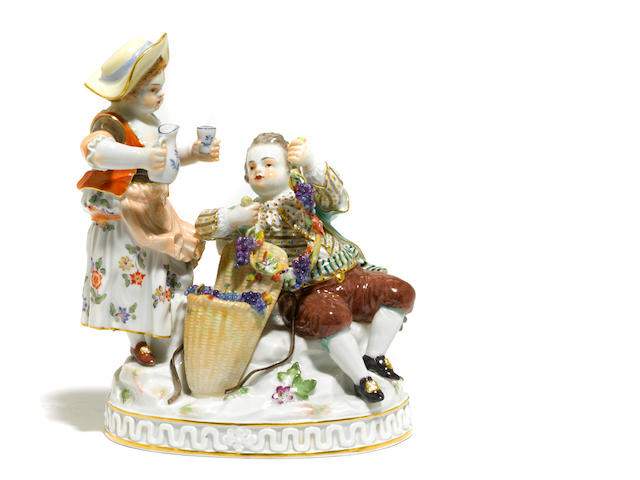 A Meissen porcelain figural group <BR />20th century