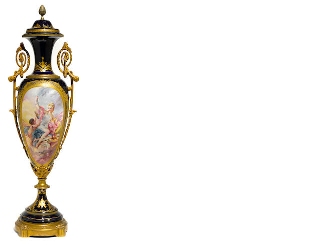 A Sèvres style gilt bronze mounted earthenware covered urn <BR />late 19th/early 20th century