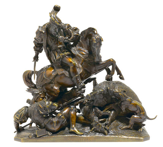 A French patinated bronze figural group: Francois I <BR />after a model by Jean-François-Théodore Gechter (French, 1796-1844)<BR />19th century