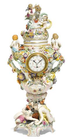 A Dresden porcelain clock <BR />circa 1900