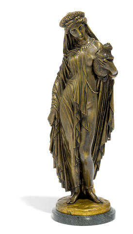 A French patinated bronze figure: Pandore  after a model by Jean-Jacques, also called James Pradier (Swiss, 1790-1852) Gautier & Cie foundry, Paris late 19th/early 20th  century