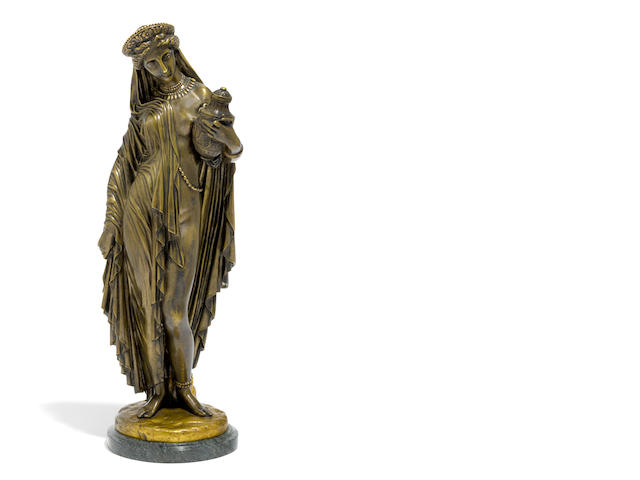 A French patinated bronze figure: Pandore <BR />after a model by Jean-Jacques, called James Pradier (Swiss, 1790-1852)<BR />Gautier & Cie foundry, Paris<BR />late 19th/early 20th  century