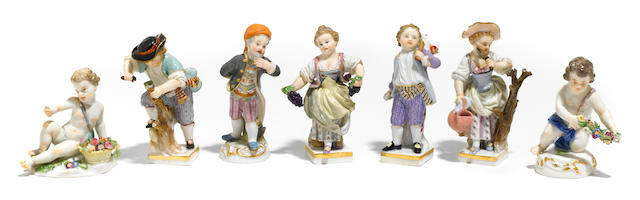 A group of seven Meissen porcelain figures <BR />late 19th/early 20th century