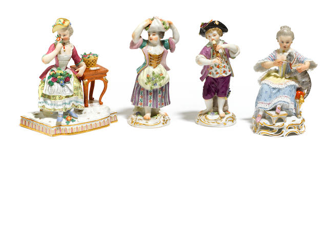 A group of four Meissen porcelain figures <BR />late 19th/early 20th century