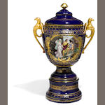 A Vienna style porcelain covered urn <BR />late 19th/early 20th century