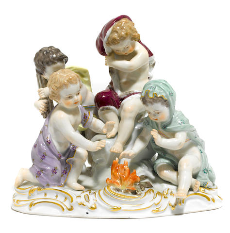A Meissen porcelain figural group <BR />early 20th century