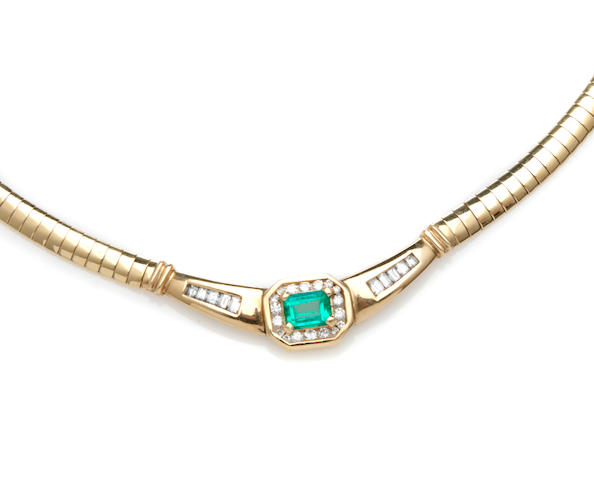 An emerald, diamond and 14k gold necklace