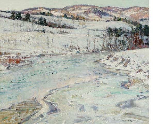 George Gardner Symons (American, 1863-1930) Frozen river 25 1/4 x 30 1/4in