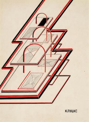 KLUTSIS, GUSTAV GUSTAVOVICH. 1895-1938. Dinamika (Dynamics). Original drawing,