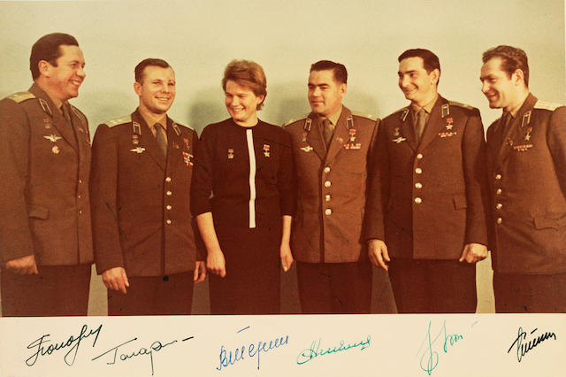GAGARIN, YURI ALEKSEEVICH, et al. Signed photograph of Soviet cosmonauts.