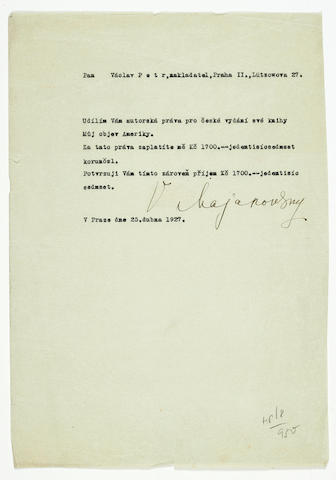 MAYAKOVSKY, VLADIMIR VLADIMIROVICH. 1893-1930. Typed Document Signed, 4to, 1 p, Prague, April 25, 1927,