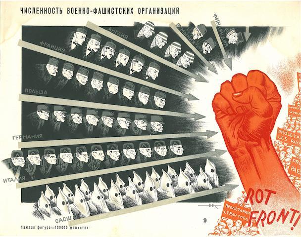 KOCHERGIN, NICKOLAI MIKHAILKOVICH, illustrator. IVANITSKII, I., editor. Pod maskoi razoruzheniya voina. [War Preparations under the Guise of Disarmament.]  Moscow:  LENIZOGIZ-IZOSTAT, 1933.<BR />
