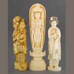 Three ivory figural okimono (sculptural ornaments) Taisho/Showa period