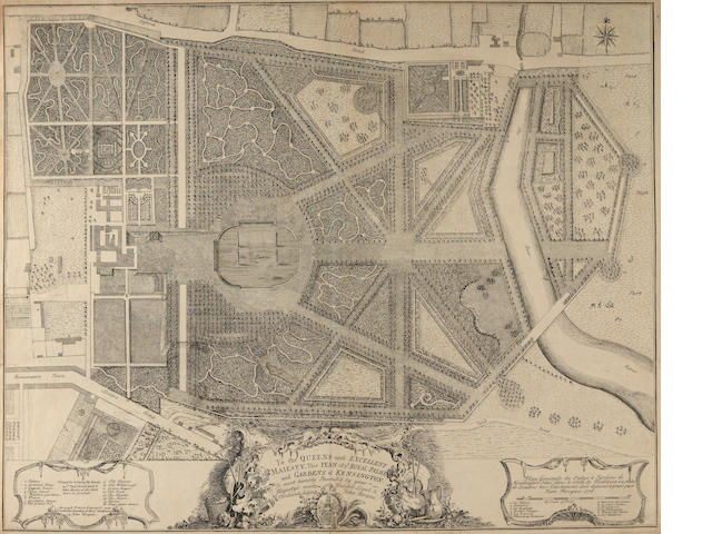 ROCQUE, JEAN. 1709-1762. Plan General du Palais & Jardins de Kensinton.... [London]: Jean Rocque for Thomas & John Bowles, 1736.