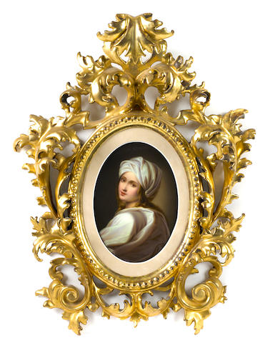 A German oval porcelain plaque of Beatrice Cenci  early 20th century