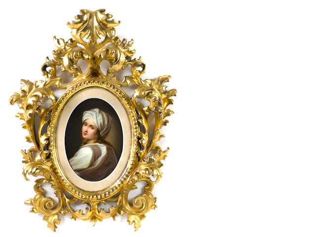 A KPM porcelain panel of Beatrice in giltwood frame