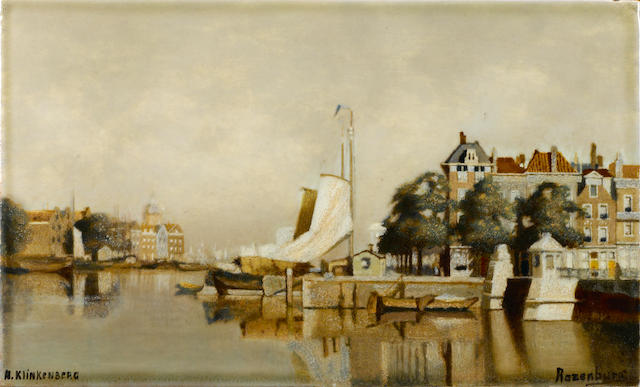 A Continental porcelain panel of Quayside