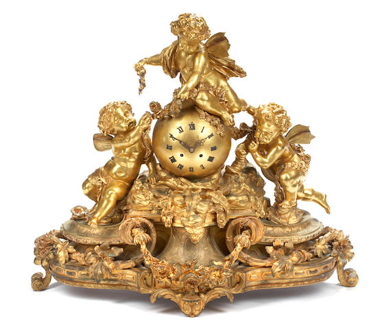 A good quality Napoleon III gilt bronze mantel clock <BR />third quarter 19th century