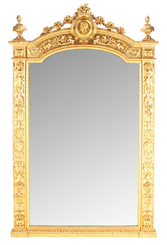 A Napoleon III carved giltwood mirror  third quarter 19th century