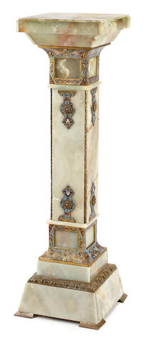 A French gilt bronze and champlevé and onyx pedestal  late 19th century