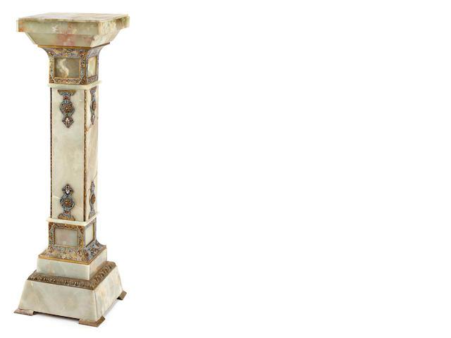 A French gilt bronze and champleve and onyx pedestal <BR />late 19th century