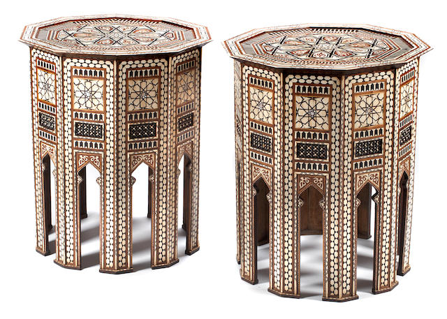 A pair of Moorish shell and bone and ebony inlaid occasional tables