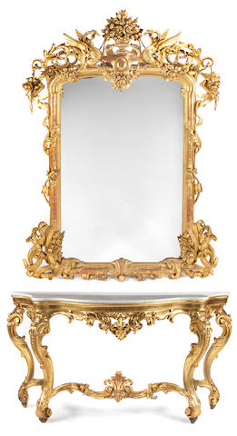 An Italian Rococo style carved giltwood console and mirror  late 19th century