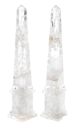 A pair of Neoclassical style rock crystal obelisks