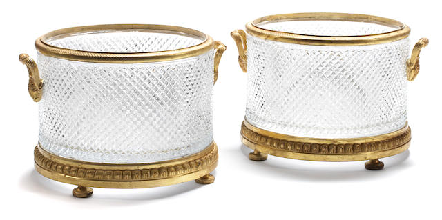 A pair of Neoclassical style gilt bronze and cut glass jardinières