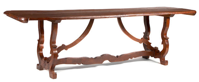 An Italian Baroque fruitwood refectory table  incorporating antique and later elements