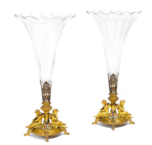 A pair of French gilt bronze, champlevé enamel and glass vases <BR />Maison Alphonse Giroux, Paris<BR />late 19th century