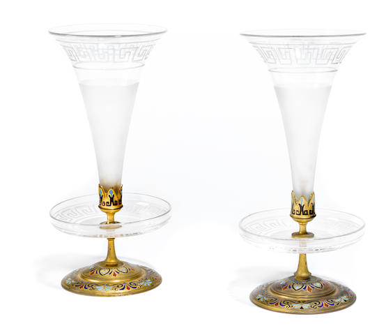 A near pair of French champlevé enamel gilt bronze and acid etched glass vases <BR />late 19th century