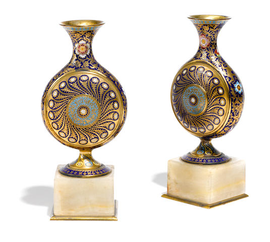 A pair of French champlevé and onyx bud vases  late 19th century