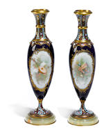 A pair of French champlevé enamel gilt bronze mounted porcelain vases  late 19th/early 20th century